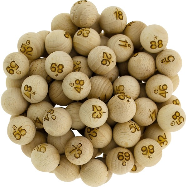 90 boules loto en bois Ø 22 mm