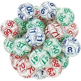 90 balles loto numérotées 10 fois Ø 38 mm