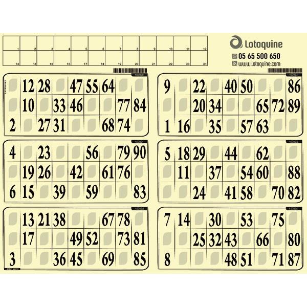 Carton loto souple - 500 grilles en plaques à tamponner