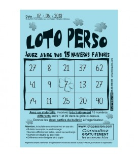 250 feuillets Loto Perso