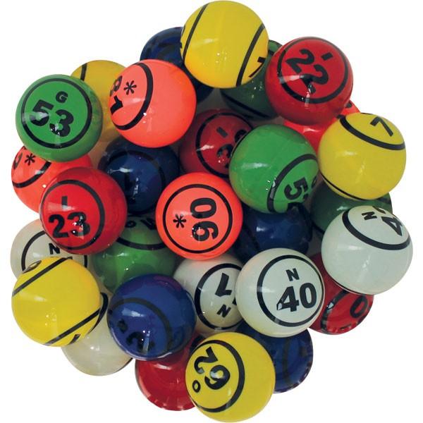90 balles loto multicolores thermoplastiques Ø 38mm