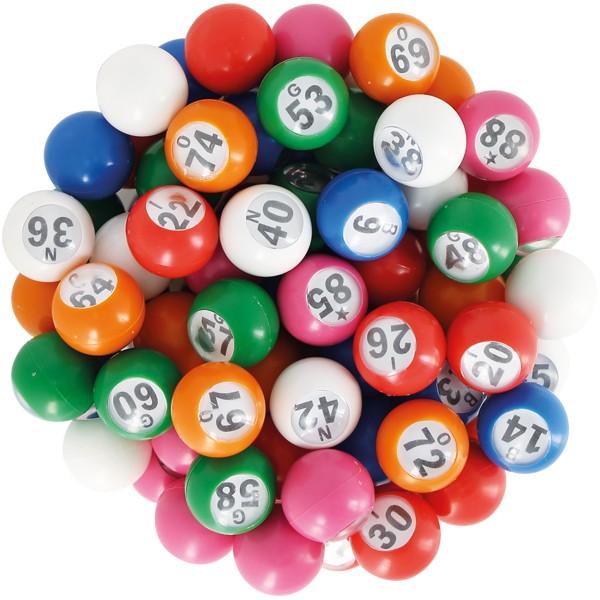 90 boules loto multicolores Ø 18 mm