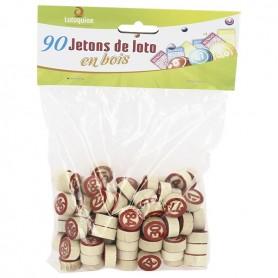 90 jetons de loto en bois