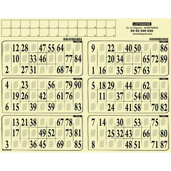 Carton loto rigide - 500 grilles en plaques à tamponner