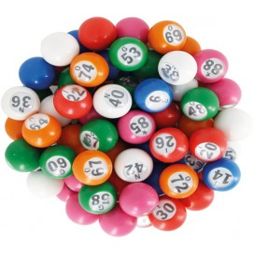 90 boules loto multicolores Ø 22 mm