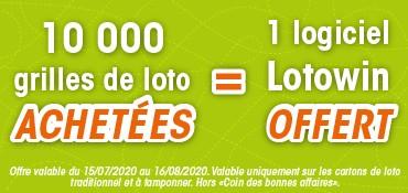 Le logiciel LOTOWIN offert pour 10 000 grilles de Loto achetées*